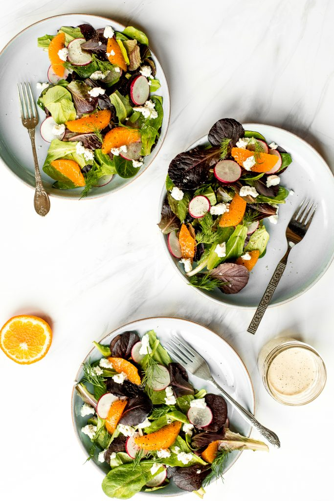 Healthy and light, goat cheese and tangelo winter salad with creamy caesar dressing is flavourful, crunchy and takes just minutes to prepare. | aheadofthyme.com
