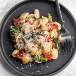 Orecchiette Pasta with Sausage, Broccoli Rabe and Roasted Red Peppers