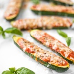 Baked zucchini with marinara and melted cheese is about to save your weeknight dinner routine. It's vegetarian, gluten free, and packed with flavor. | aheadofthyme.com