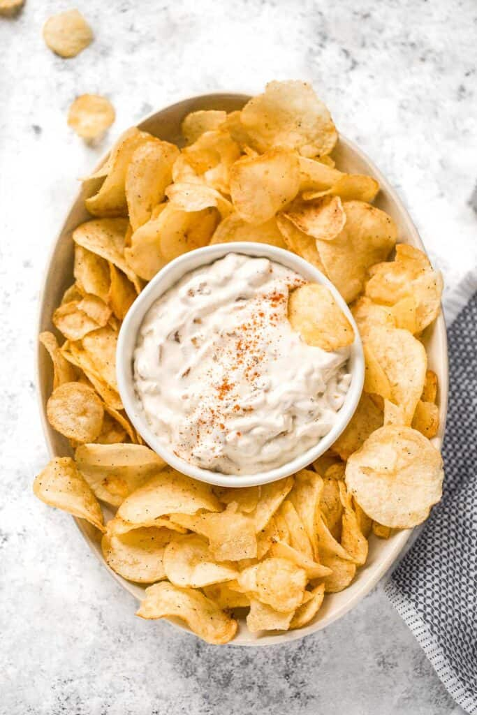 Caramelized onion dip is creamy, flavorful, and melt-in-your-mouth delicious. This easy appetizer is perfect for entertaining, on game day, or for a snack. | aheadofthyme.com