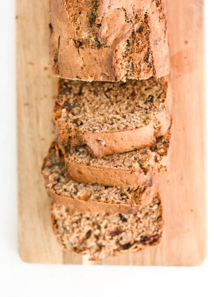 When you combine walnuts, raisins and dried fruit in a nutty banana bread, the result is a tender and moist loaf that is truly irresistible. | aheadofthyme.com