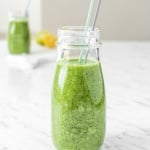 Take 5 minutes out of your day to make this delicious, vibrant and energizing green detox smoothie, packed with nutrients and antioxidants that gets your morning started right. | aheadofthyme.com