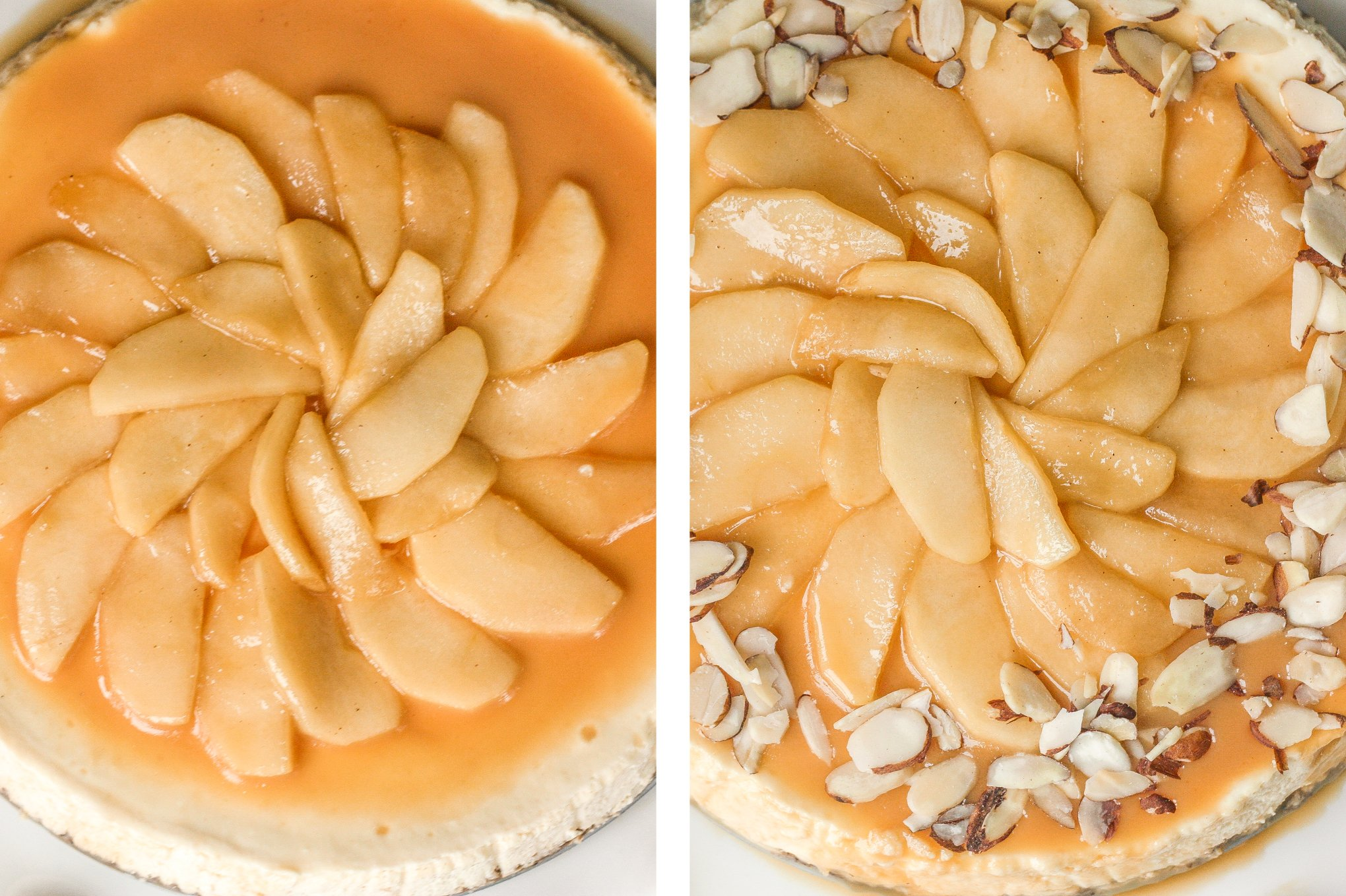 Decadent and light, homemade healthier caramel apple fall cheesecake is made with a graham cracker crust, topped with caramel apples and caramel sauce. It's fall heaven. | aheadofthyme.com