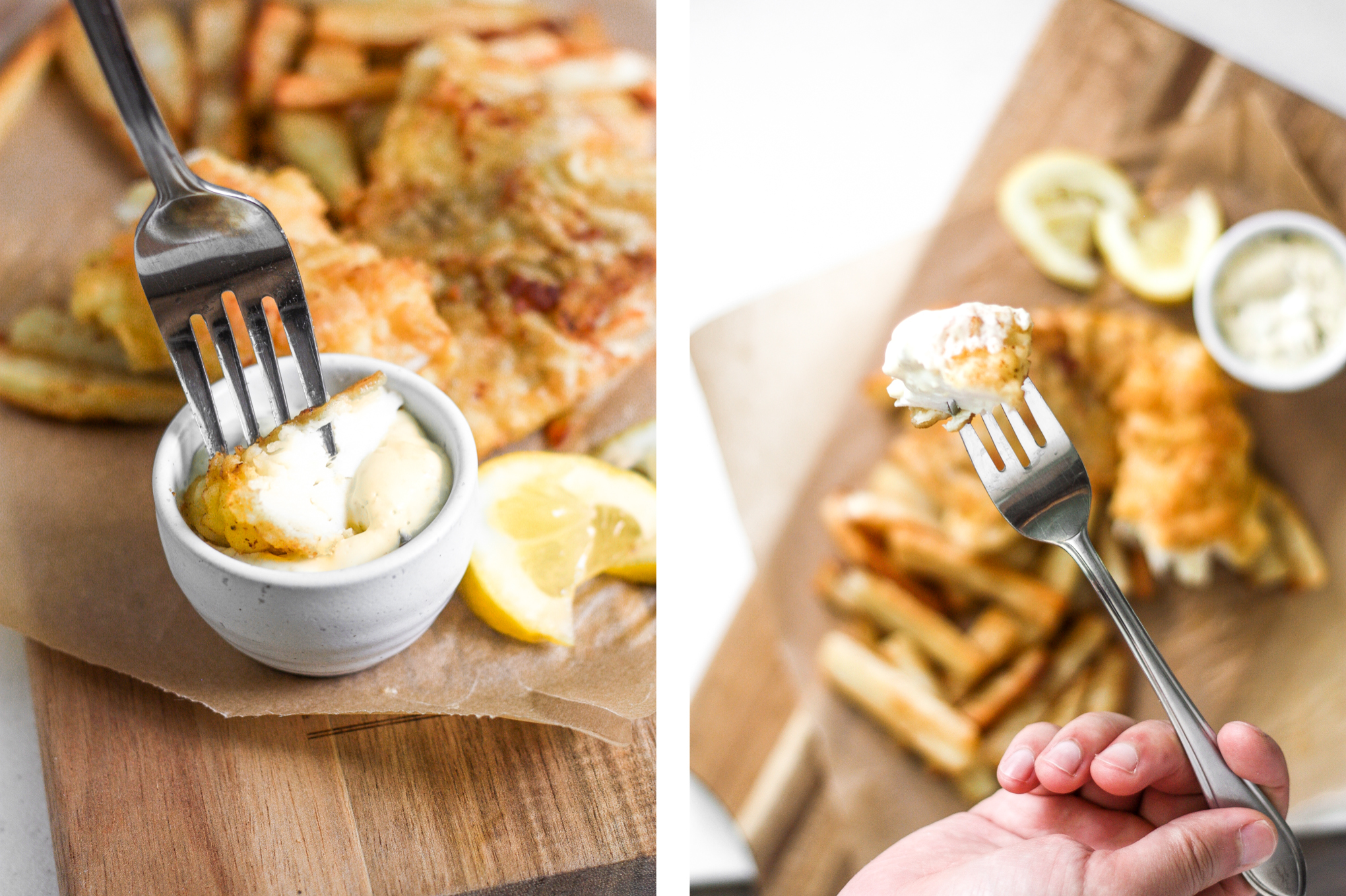 These healthy fish and chips are crispy on the outside and juicy, tender, and flakey on the inside. Pair it with homemade tartar sauce and say hello to comfort food heaven! | aheadofthyme.com