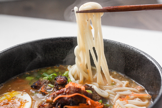 Satisfy your ramen cravings with healthy miso ramen with chicken from the comfort of your own home. Weeknight dinners have never been tastier!   aheadofthyme.com