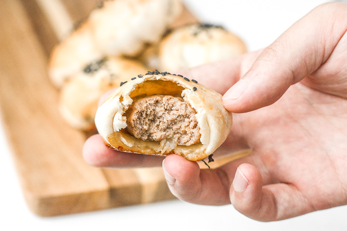 Mini meat pies with soy sauce are flakey puff pastries stuffed with delicious and juicy meat inside marinated with Asian flavours. | aheadofthyme.com