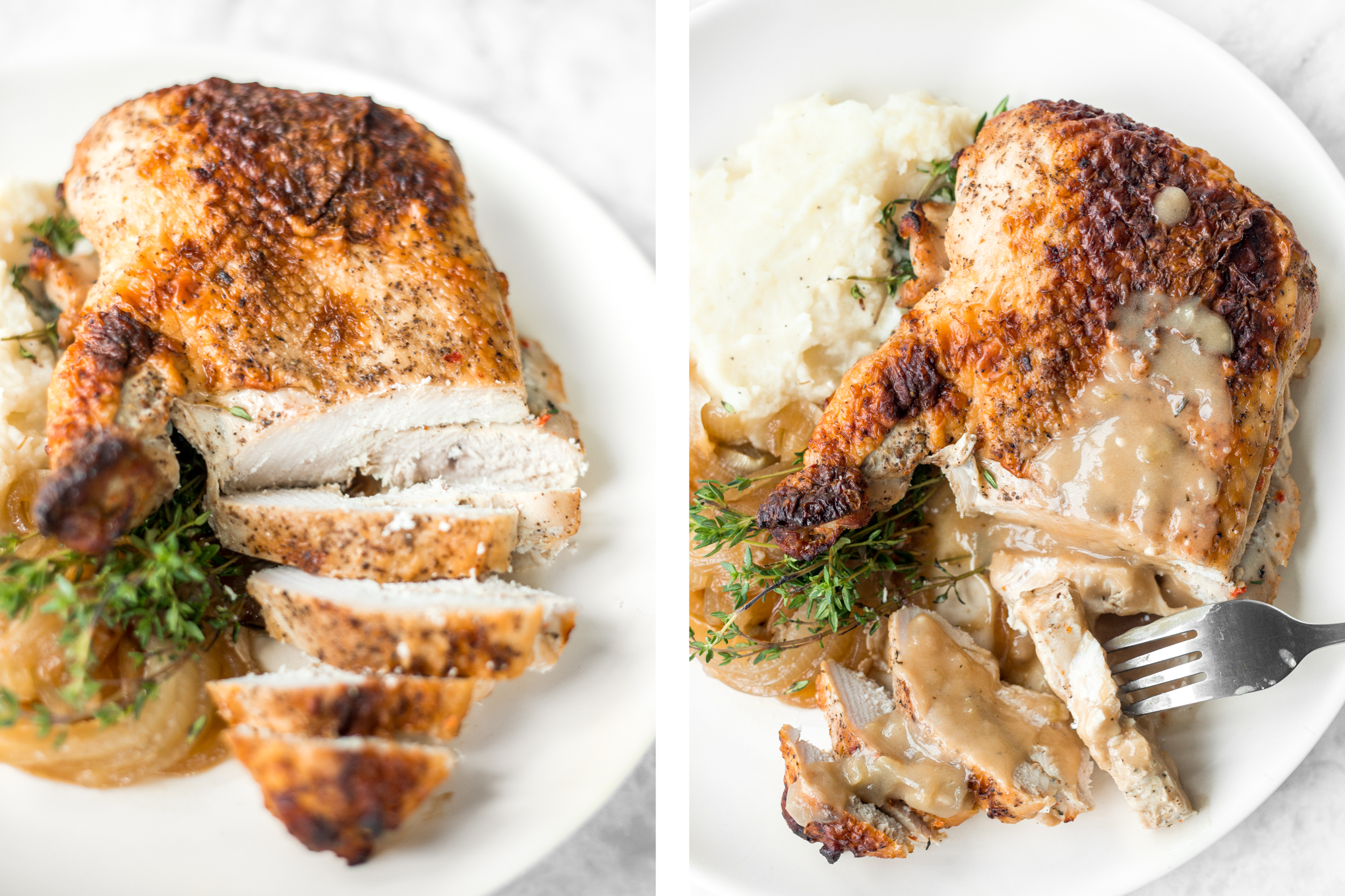 Easy juicy roasted turkey breast is the PERFECT holiday dinner, minus the headache...tender meat, crispy skin, and a layer of roasted onions. | aheadofthyme.com