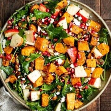 Fall harvest salad with roasted butternut squash and apple is the only salad recipe you need this fall or winter. It's healthy, wholesome, and nourishing. | aheadofthyme.com
