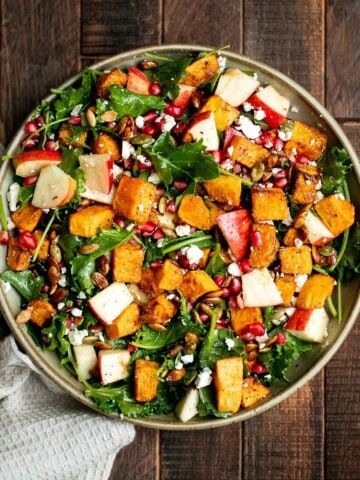 Fall harvest salad with roasted butternut squash and apple is the only salad recipe you need this fall or winter. It's healthy, wholesome, and nourishing.   aheadofthyme.com