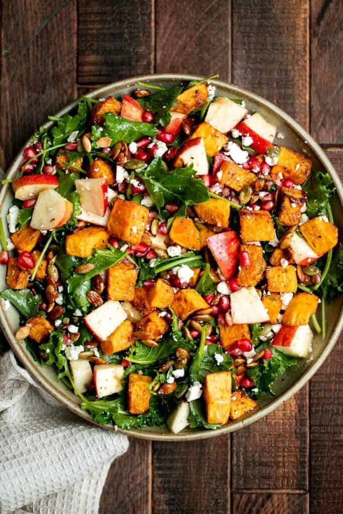 Fall harvest salad with roasted butternut squash and apple is the only salad recipe you need this fall or winter. It
