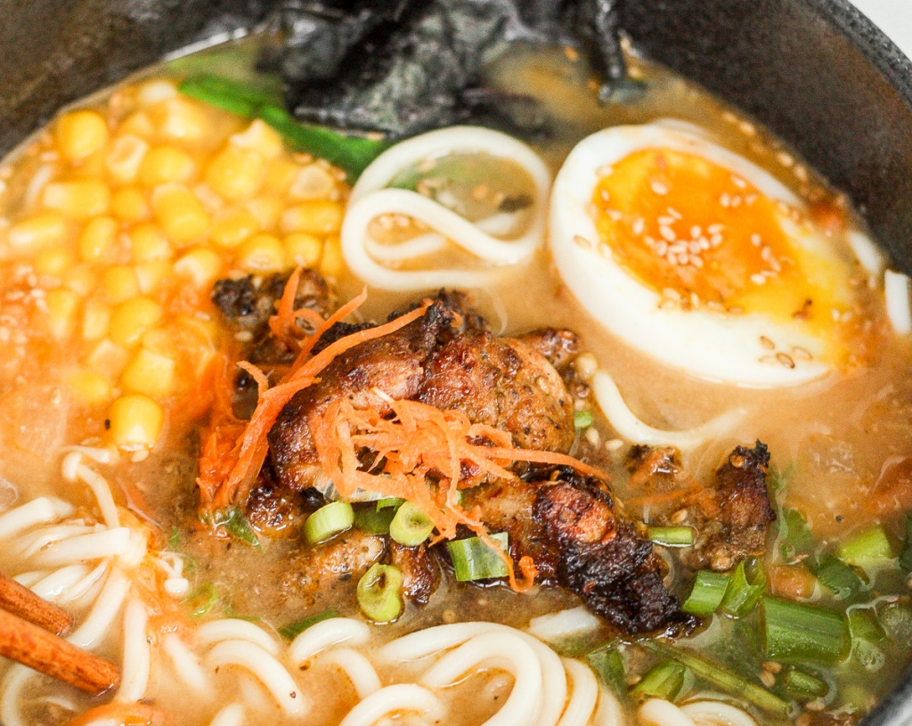 Satisfy your ramen cravings with healthy miso ramen with chicken from the comfort of your own home. Weeknight dinners have never been tastier! | aheadofthyme.com