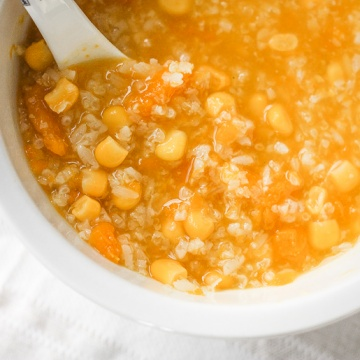 When east meets west, savoury pumpkin congee rice porridge with corn is born. It's thick and creamy -- the ultimate fall comfort food. | aheadofthyme.com