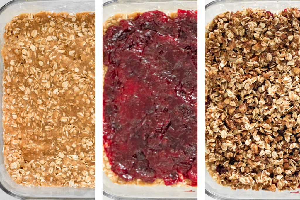 Easy cranberry sauce oat bars with a buttery crust, cranberry sauce filling, and crumbly pecan oat topping is the best way to use leftover cranberry sauce. | aheadofthyme.com