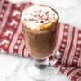 Make yourself a festive holiday drink in 5 minutes by combining creamy milk, chocolate, and minty candy canes for a cup of easy peppermint hot chocolate. | aheadofthyme.com
