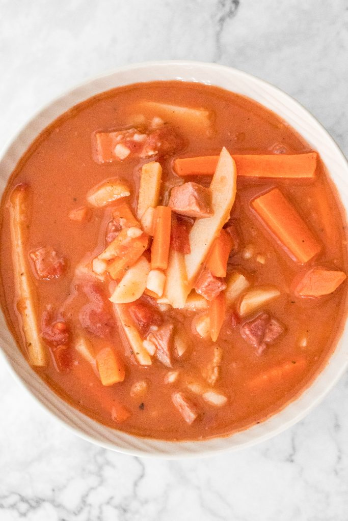 Creamy and hearty Chinese-style borscht soup is loaded with carrots, potatoes, cabbage, and ham AND is both gluten-free and dairy-free. | aheadofthyme.com