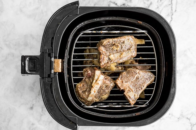 Juicy, tender, and delicious 18-minute air fryer lamb chops is marinated in a dijon garlic sauce and will change the way you cook lamb forever! | aheadofthyme.com