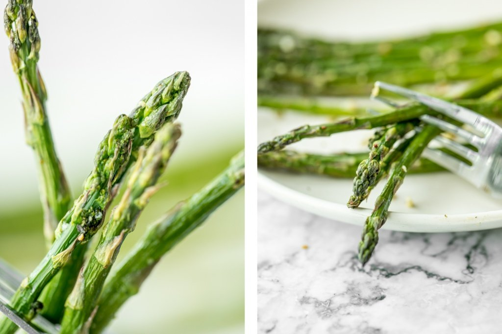 Crisp on the outside and tender inside, air fryer asparagus cooks in just 6 minutes! It is tossed in very little olive oil with garlic and seasonings. | aheadofthyme.com
