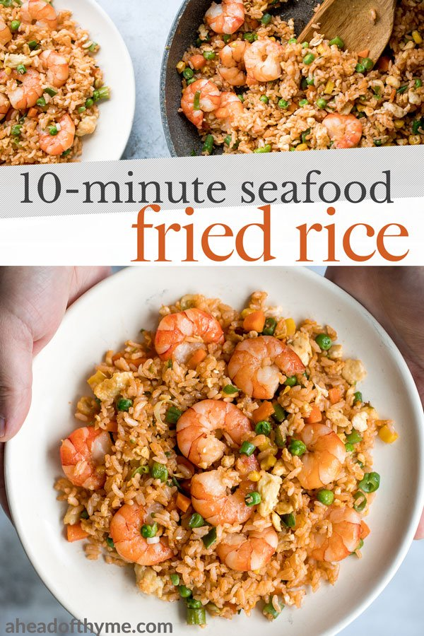 Quick and easy, one-pan, 10-minute seafood fried rice with tiger prawns is so much healthier, tastier and better than takeout. It's the easiest weeknight meal. | aheadofthyme.com
