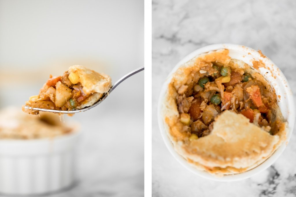 East meets west in these butter chicken pot pies with a flaky, buttery puff pastry crust, creamy butter chicken filling inside, and a whole lot of comfort. | aheadofthyme.com