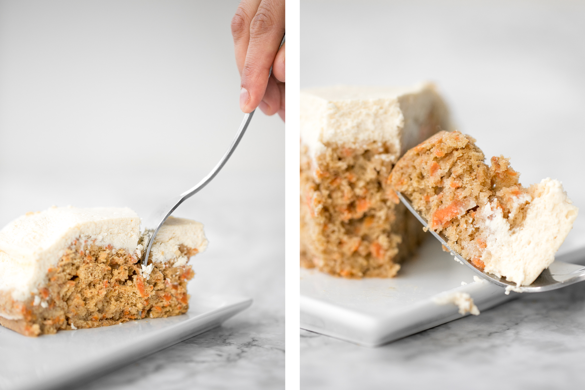 Super moist and perfectly spiced carrot cake with a creamy cheesecake topping is flavourful, comforting, and the perfect homemade spring dessert. | aheadofthyme.com