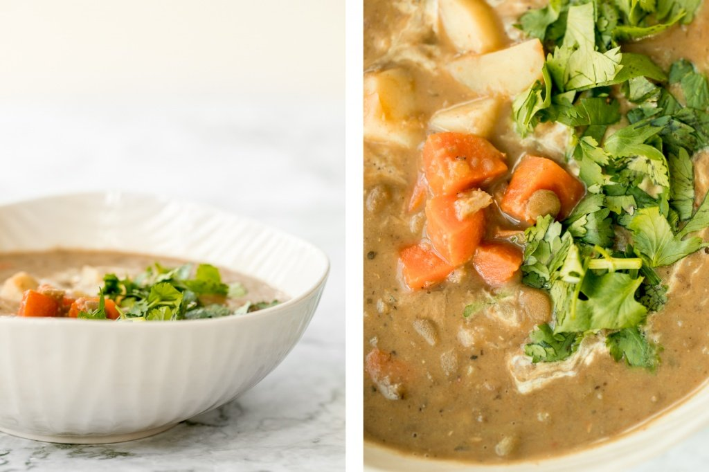 Indian-inspired, vegan, creamy coconut curry lentil soup is an easy and simple 30-minute pantry meal that is packed with spices for maximum flavour. | aheadofthyme.com