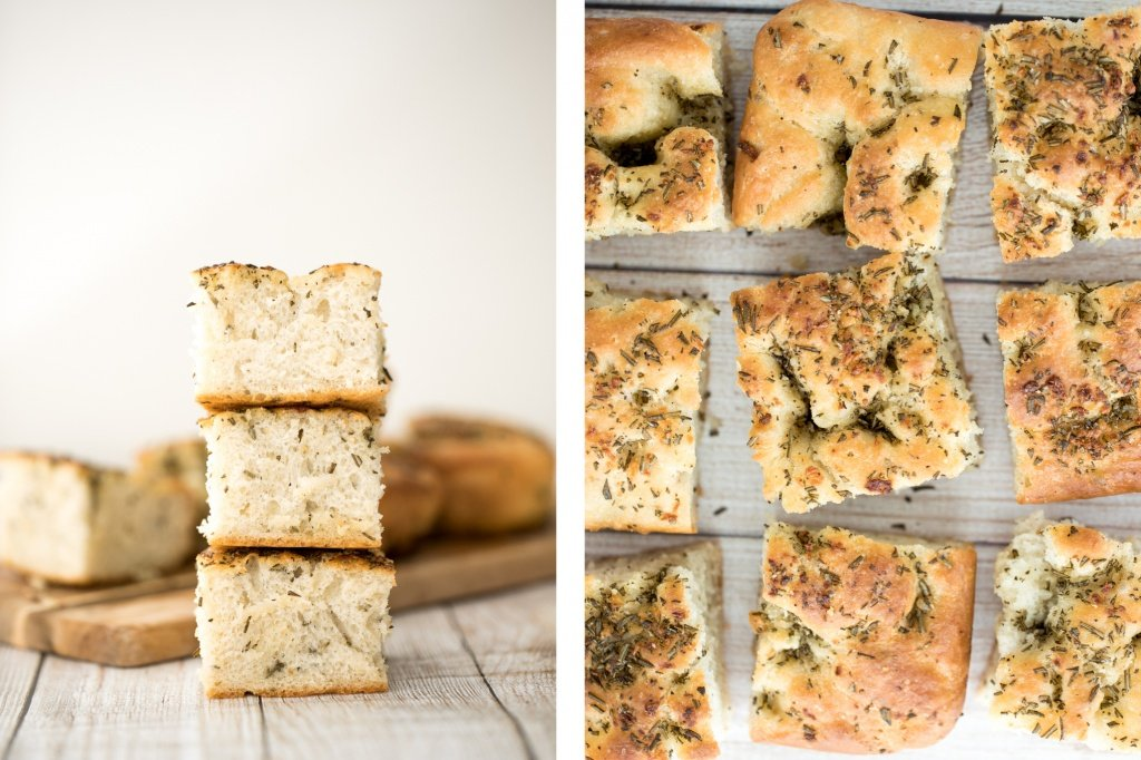 No knead, easy rosemary garlic focaccia bread is thick with a perfect golden and crispy texture on the outside, but soft, fluffy and tender inside. | aheadofthyme.com