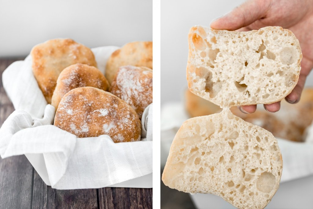 Easy small batch ciabatta rolls are fluffy and airy with a perfect crunchy, crackly crust. They take only 10 minutes to prepare and require no kneading. | aheadofthyme.com