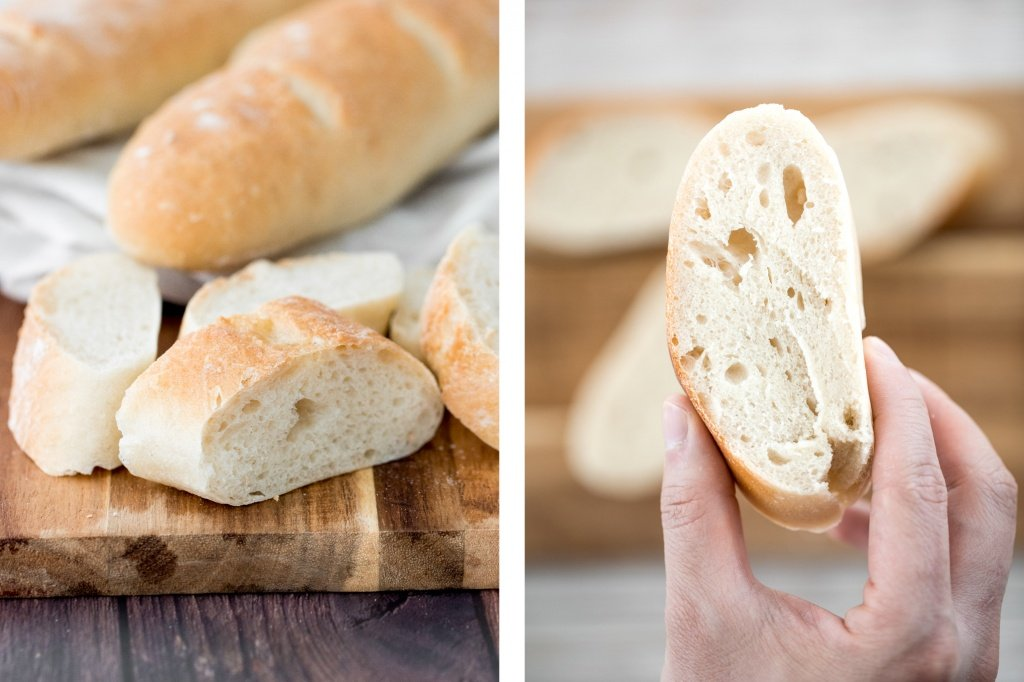 These homemade no knead French baguettes are just what bread dreams are made of -- light, tender and airy crumb inside, and a crispy, crunchy crust outside. | aheadofthyme.com