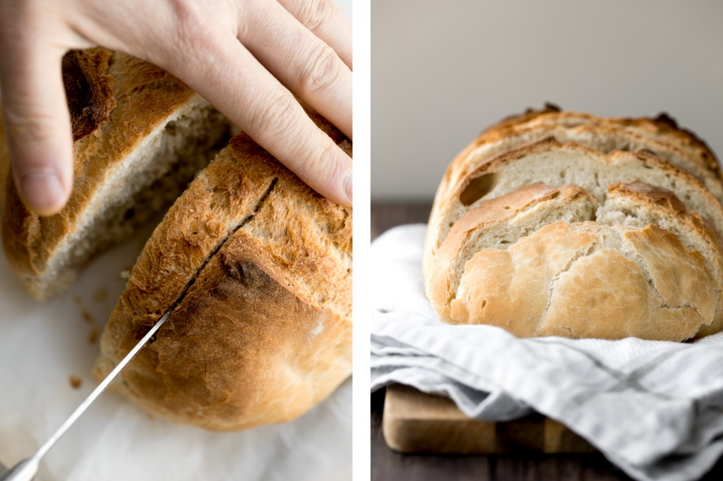If you have never made bread before, then homemade, fluffy and airy small batch no-knead bread with a perfect crust is the best artisan bread to start with. | aheadofthyme.com