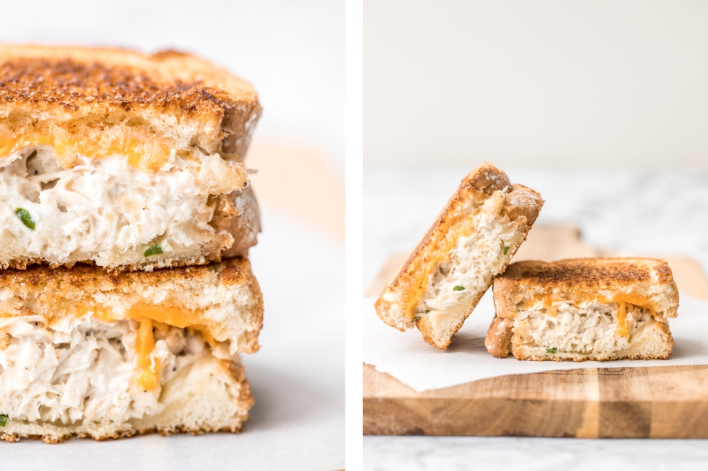 Get your hands on pantry staple canned tuna and make a delicious, crunchy tuna melt grilled cheese sandwich in less than 10 minutes! It's so tasty and easy!   aheadofthyme.com