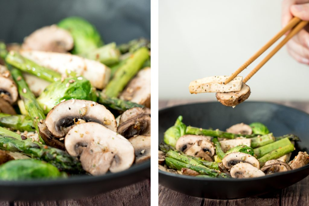 "Simple air fryer spring vegetable ""stir-fry"" with tofu is the ultimate easy dinner ready in less than 10 minutes. It's healthy, vegan and gluten-free. 