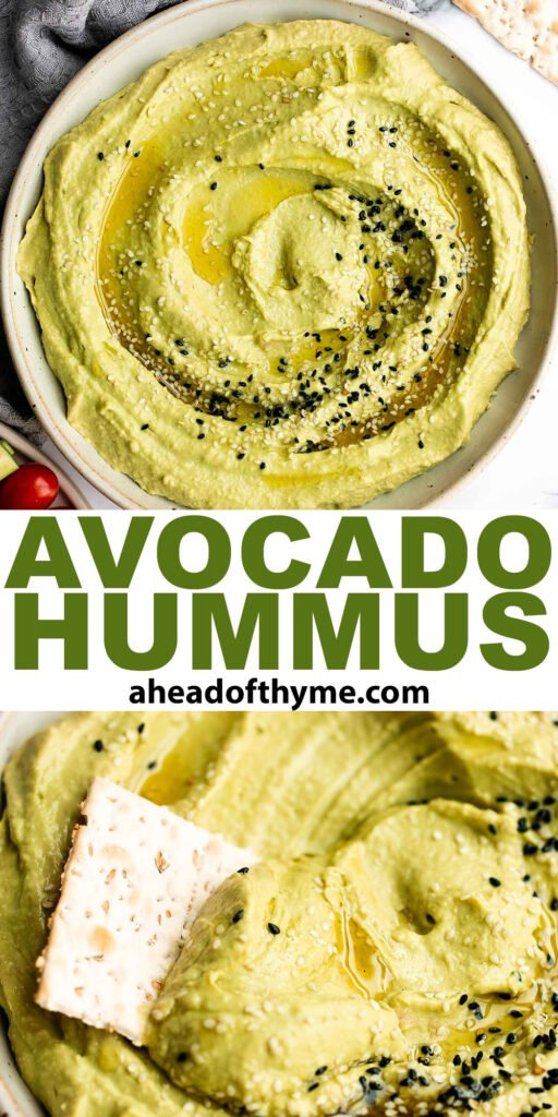Quick and easy avocado hummus is creamy, smooth, healthy, and delicious. Loaded with chickpeas and avocado, it's the perfect blend of hummus and guacamole.   aheadofthyme.com