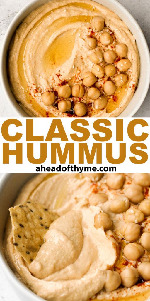 Whip up smooth and creamy classic hummus dip at home in just 5 minutes, by combining chickpeas, tahini, olive oil, lemon juice and garlic in the blender. | aheadofthyme.com