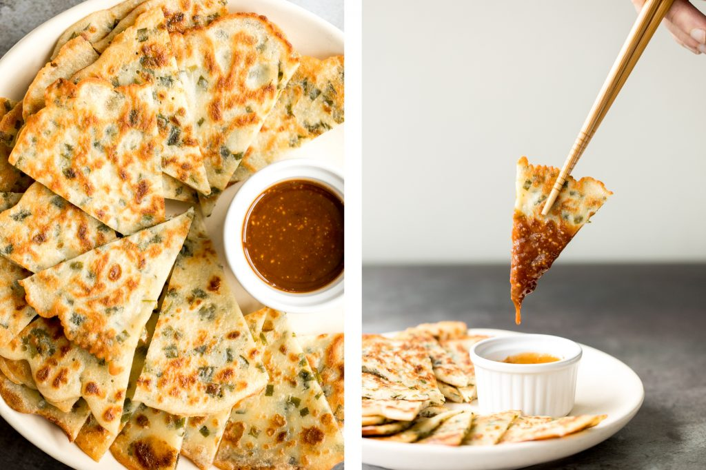 Don't let your sourdough starter go to waste, use your discard to make this easy one bowl recipe for crispy, light and fluffy, savoury chive pancakes. | aheadofthyme.com