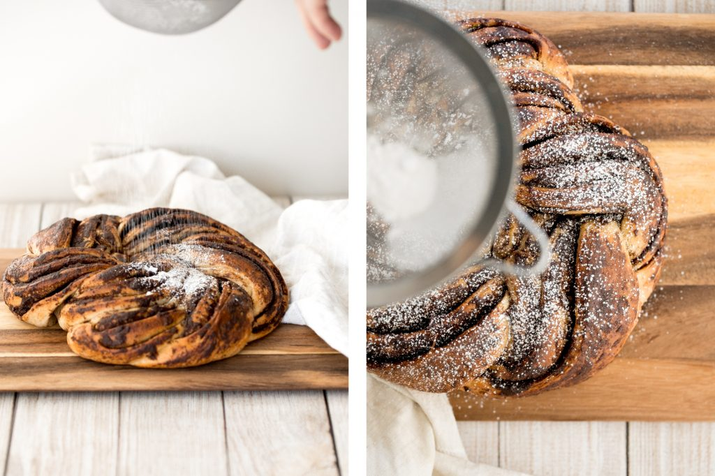 Soft and fluffy sourdough cinnamon roll twist bread is buttery and layered with cinnamon sugar. Prep it the night before and freshly bake it for breakfast. | aheadofthyme.com