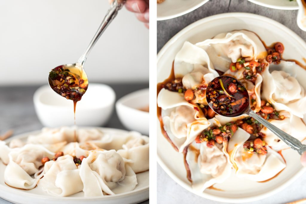 Easy spicy chili oil wontons, a signature Sichuan dish ready in just 10 minutes, hits every sense of your palate -- sour, spicy, sweet and nutty. | aheadofthyme.com