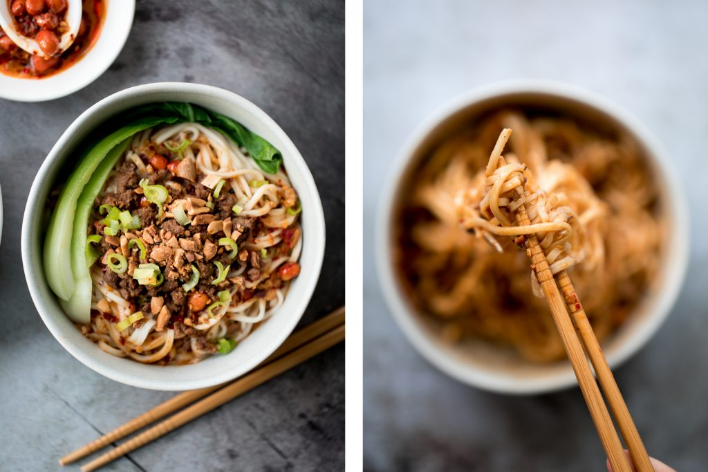 Toss thin wheat noodles in a spicy chili oil sauce and top with seasoned ground beef to make numbing, spicy Sichuan Dan Dan noodles in under 15 minutes. | aheadofthyme.com