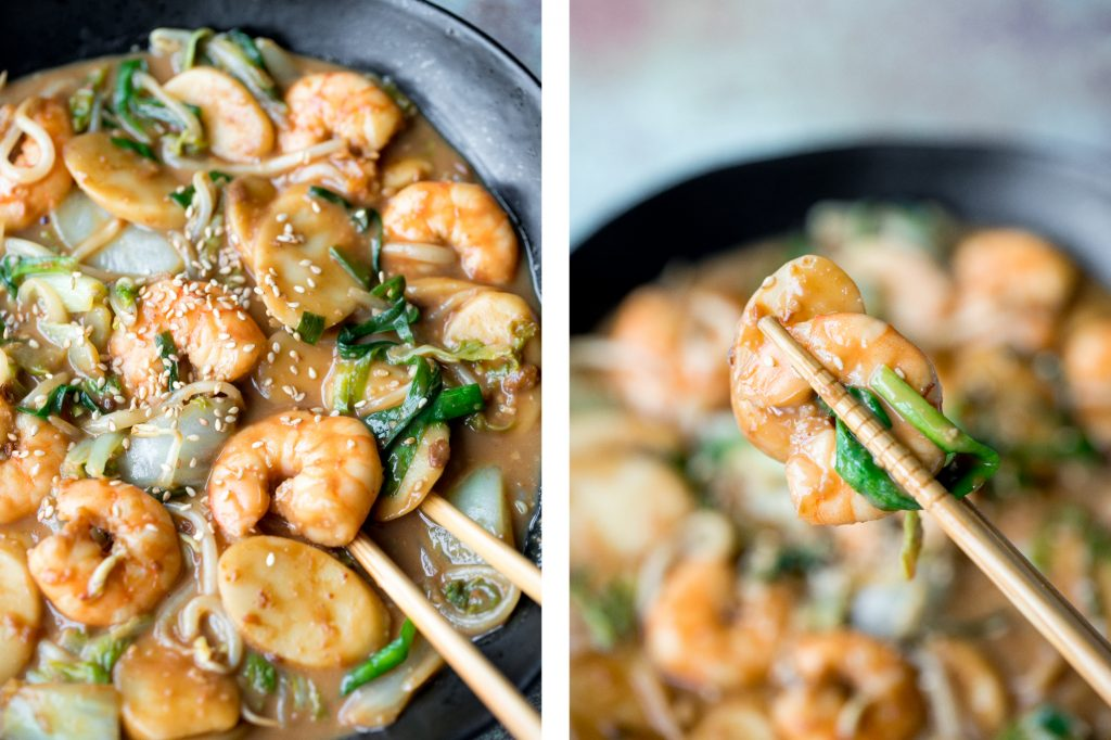 Better than takeout, stir-fried rice cakes with shrimp, bok choy, and bean sprouts in a delicious peanut butter sauce is a quick 10-minute one pan meal. | aheadofthyme.com