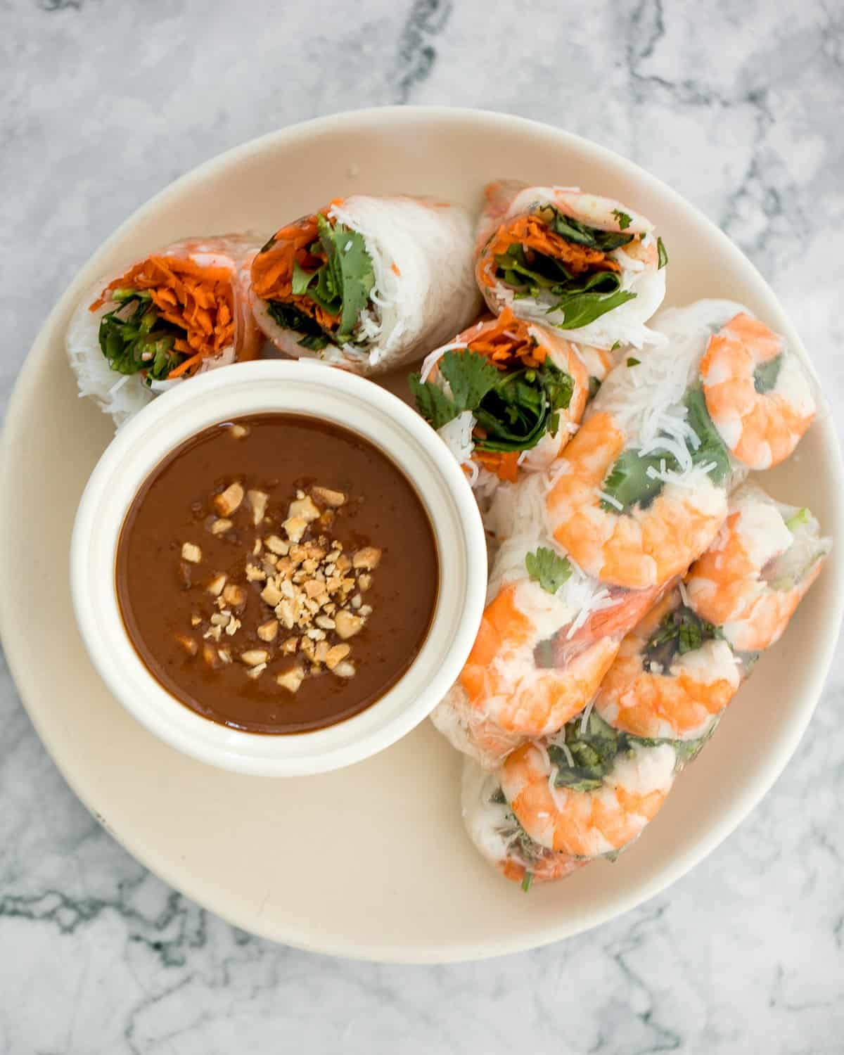 Vietnamese Salad Rolls With Peanut Dipping Sauce Ahead Of Thyme