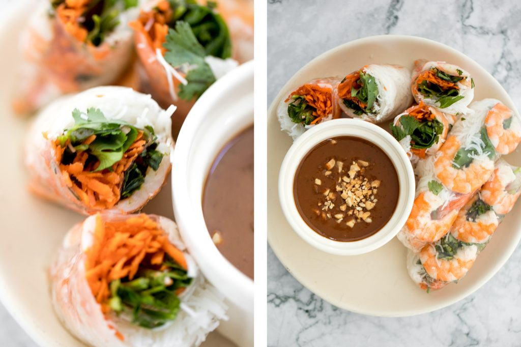 Fresh, light and healthy Vietnamese salad rolls are packed with vermicelli noodles, shrimp, fresh vegetables and herbs and dipped in homemade peanut sauce.   aheadofthyme.com