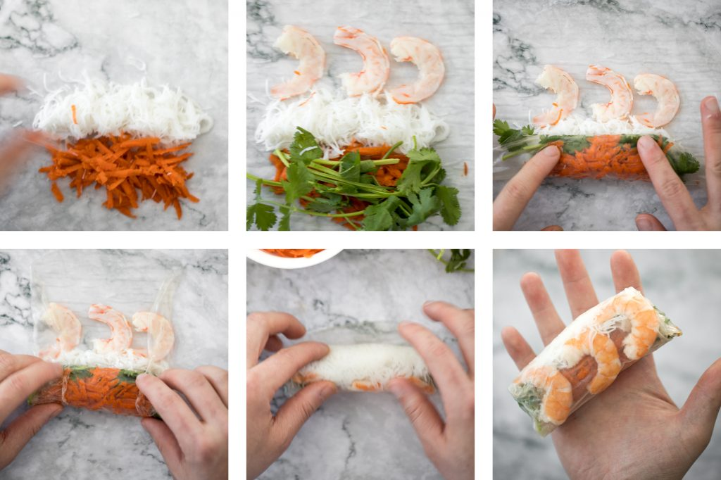 Fresh, light and healthy Vietnamese salad rolls are packed with vermicelli noodles, shrimp, fresh vegetables and herbs and dipped in homemade peanut sauce. | aheadofthyme.com