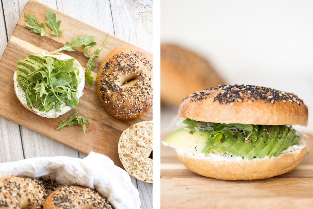 This simple and fully customizable avocado bagel with cream cheese is loaded with cream cheese, avocado, and microgreens. Such an easy breakfast or lunch! | aheadofthyme.com