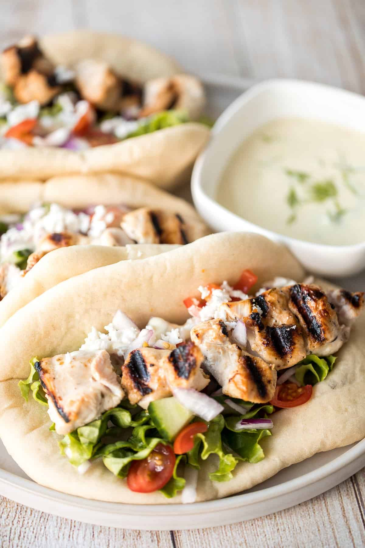 Greek Chicken Gyros With Tzatziki Ahead Of Thyme