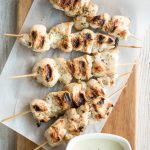 Easy Greek chicken souvlaki skewers marinated in garlic, fresh herbs, lemon and bay leaves for that classic Mediterranean flavour. Grill in under 15 minutes. | aheadofthyme.com