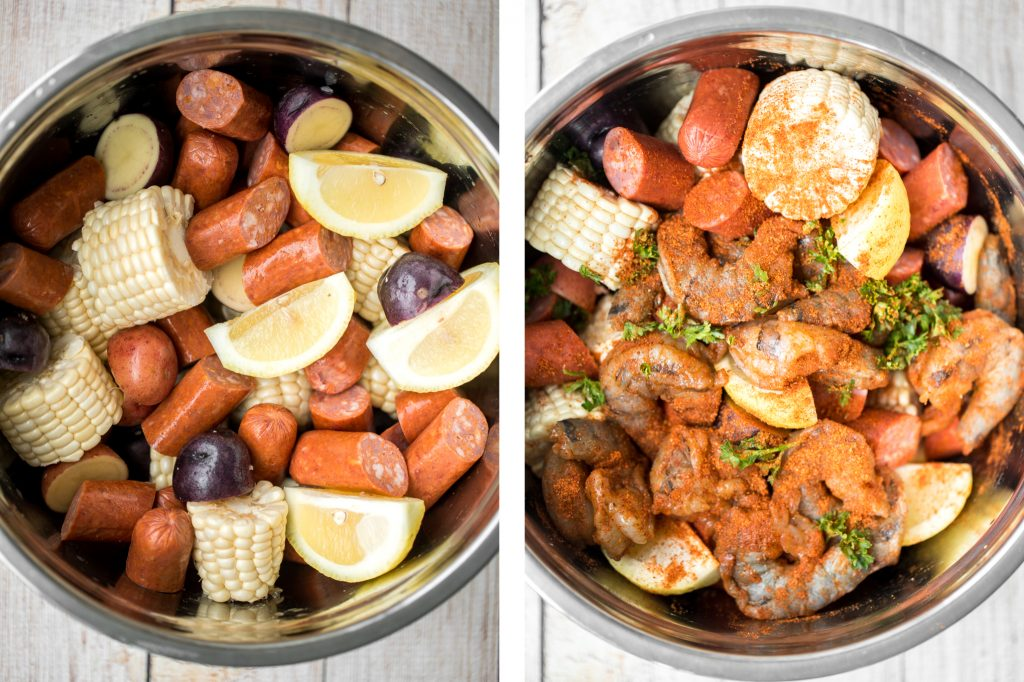 Easy, garlicky and buttery grilled shrimp boil with prawns, corn, baby potatoes and sausage, seasoned and tossed with parsley takes just 20 minutes to cook. | aheadofthyme.com