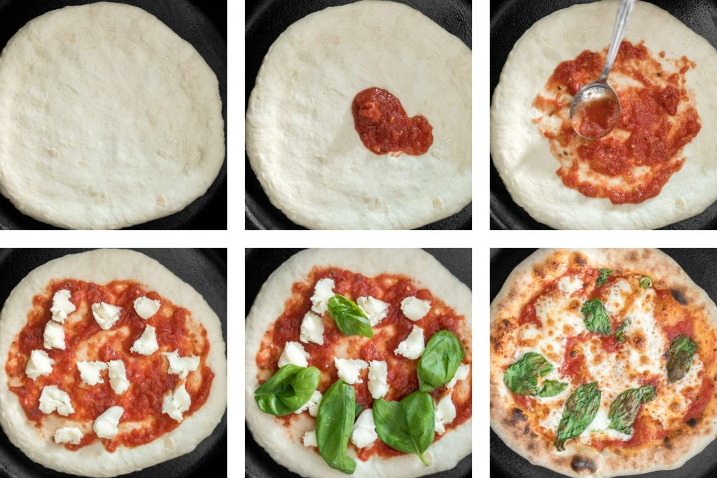 Quick and easy skillet Neapolitan margherita pizza has an iconic thin and soft crust with a perfectly crisp exterior, and simple and fresh toppings. | aheadofthyme.com