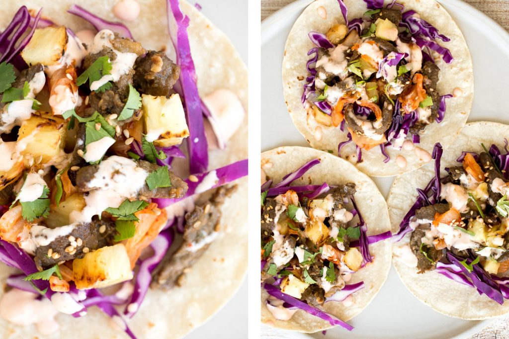Fusion-style Korean beef steak tacos are made with tender, flavour-packed slices of beef and topped with caramelized pineapple, kimchi, and spicy mayo. | aheadofthyme.com