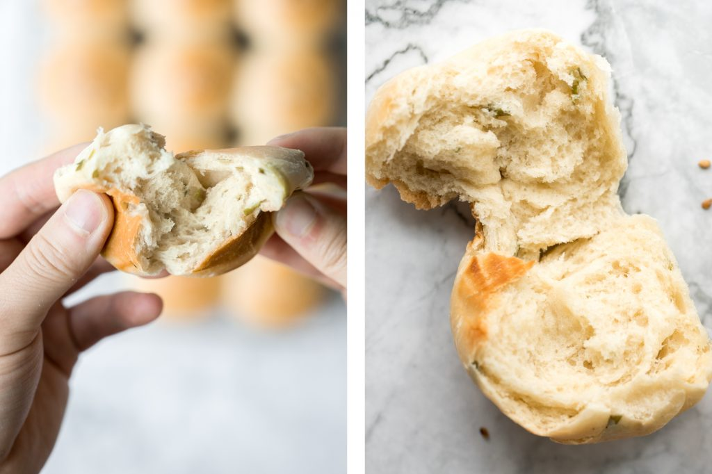 Soft and fluffy, quick dinner bread rolls are loaded with green onions and topped with flaked sea salt and sesame seeds. Ready in just 1.5 hours. | aheadofthyme.com