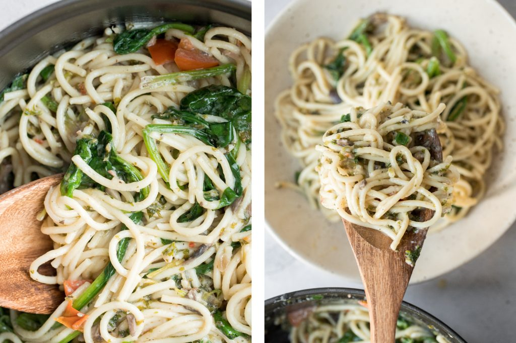 10-minute creamy spaghetti alfredo with spinach, mushrooms and tomatoes is tossed in a smooth buttery and garlicky alfredo sauce with fresh parsley. | aheadofthyme.com