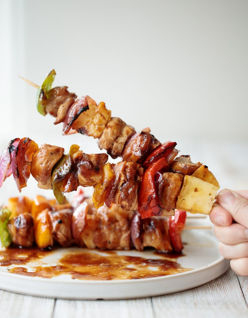 Juicy and tender teriyaki chicken skewers with pineapple, bell peppers and red onions are sticky, sweet, savoury, and tangy. So flavourful and delicious. | aheadofthyme.com